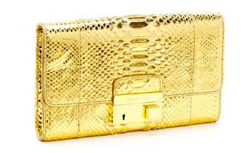 MK Gia Clutch Python Gold $995